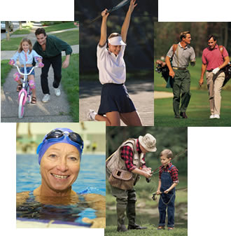 Photo collage of active people of all ages